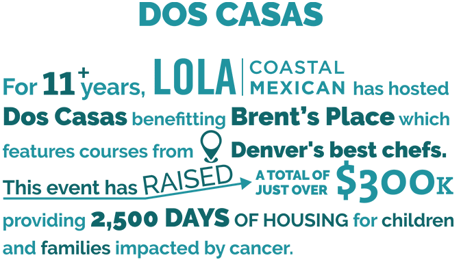Dos Casas - Philanthropic Donations to Brent's Place from Lola Coastal Mexican and Big Red F Restaurant Group